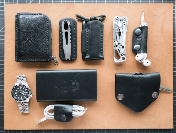 My Black Leather & Grey Steel EDC