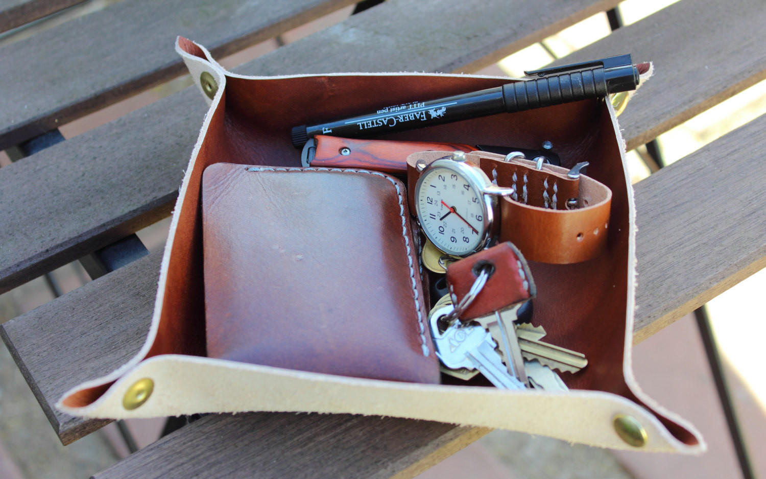 Leather Valet Tray by LegacyBrandLeather
