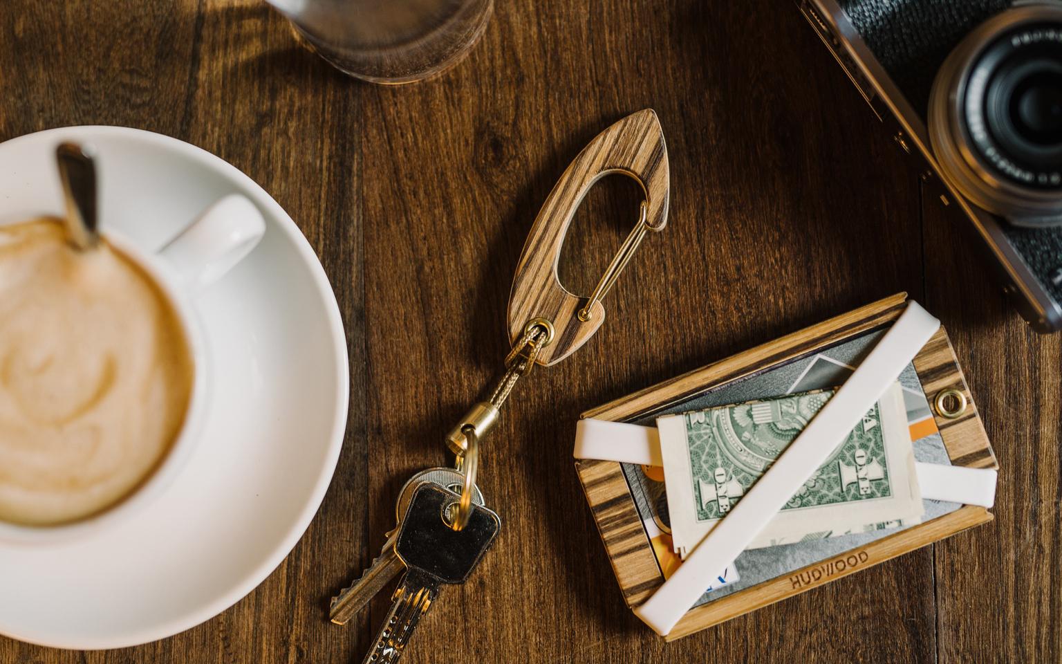 Hudwood Wooden Carabiner and Wallet
