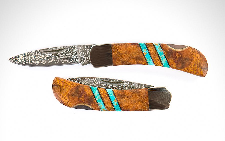 Santa Fe Stoneworks Ironwood + Turquoise Damascus Knife