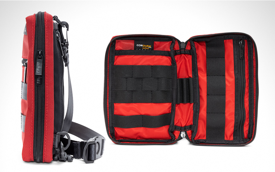 Atlas Sling V2 in red, profile view and interior